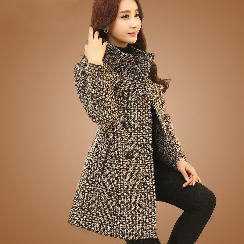 New Women's Wool Blends Coat Winter 2017 Autumn Fashion Elegant Mother Turtleneck Plaid Slim Long Tweed Woolen Outerwear Female