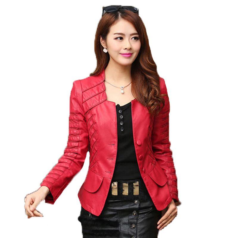 2017 Autumn leather jacket women casual long sleeve faux short coat fashion mosaic plus size PU cheap bomber jacket femininas