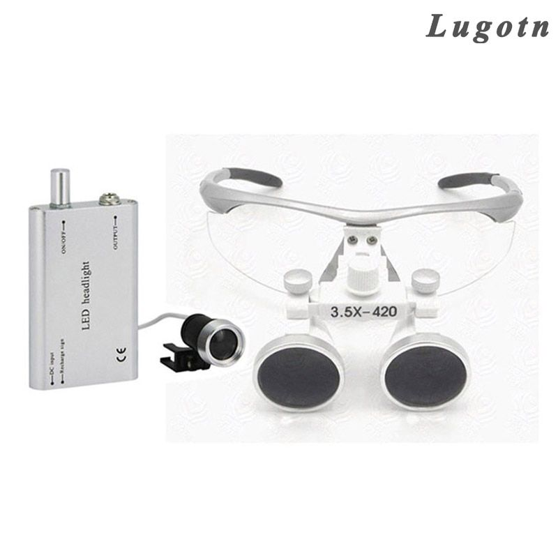 3.5X fois loupe avec led phare lentille binoculaire antibuée lunettes optiques loupe médicale agrandisseur chirurgical