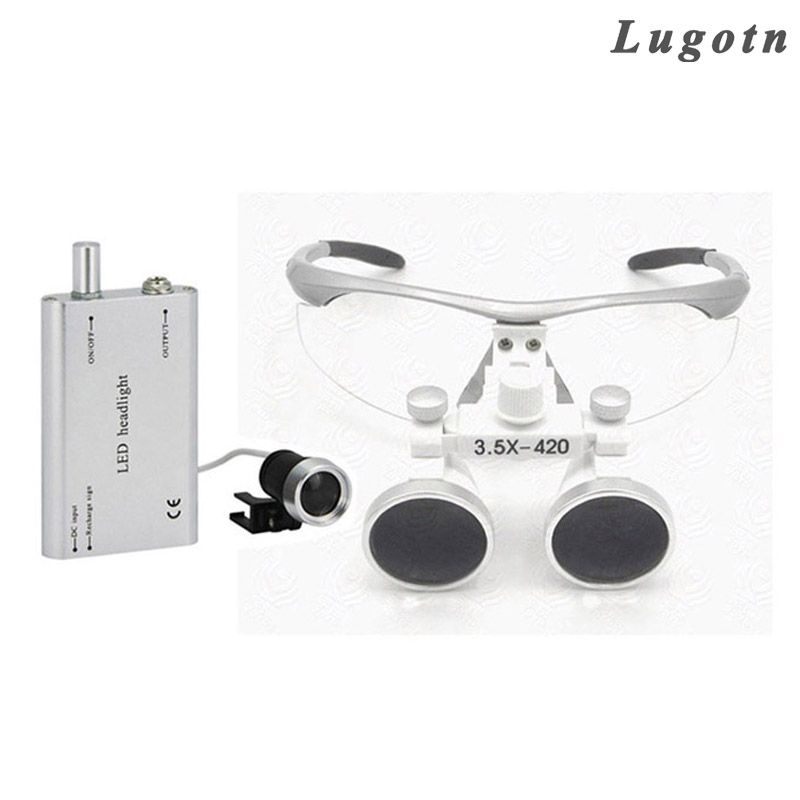 3.5X times magnifier with led headlamp binocular lens antifog optical glasses medical loupe surgical enlarger