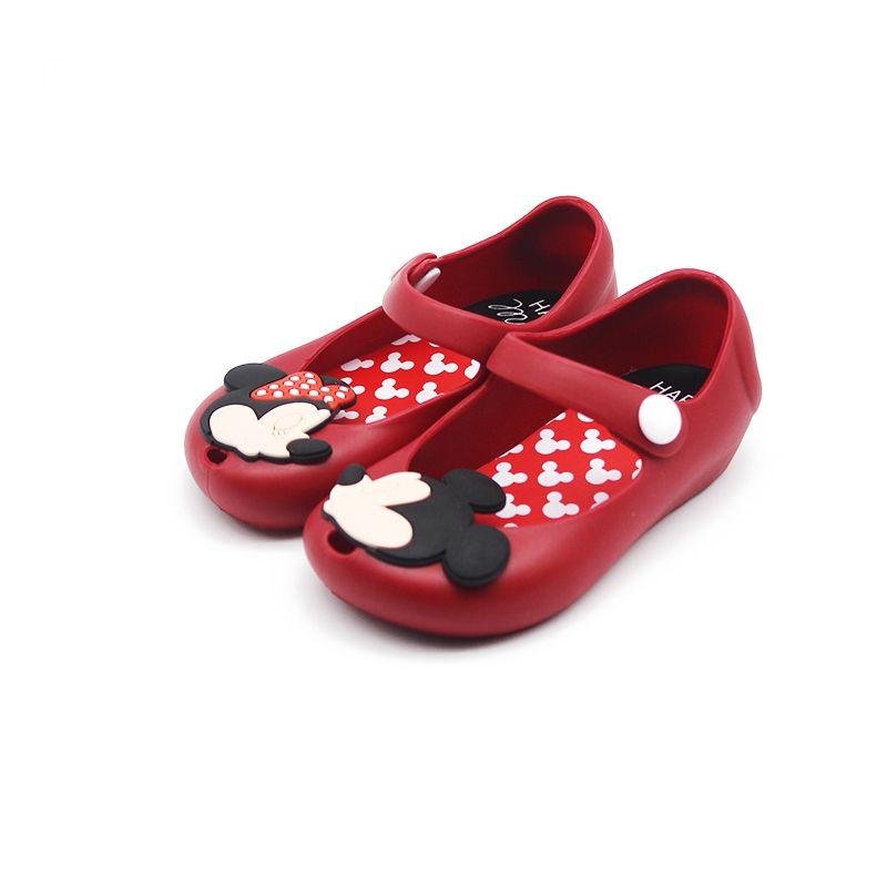 Mini Melissa 2018 nuevo mini Zapatos Mickey y Minnie Zapatos jalea cristalina Sandalias niños Zapatos cabeza de pescado Zapatos Rojo Negro
