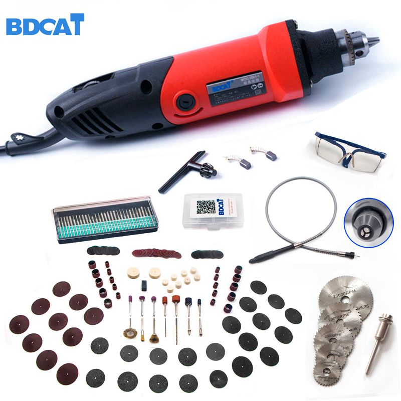 BDCAT 220V 400W Mini Grinder 6 Position Variable Speed For Dremel Rotary Tool Grinding Power Tool with 186pcs Dremel Accessories
