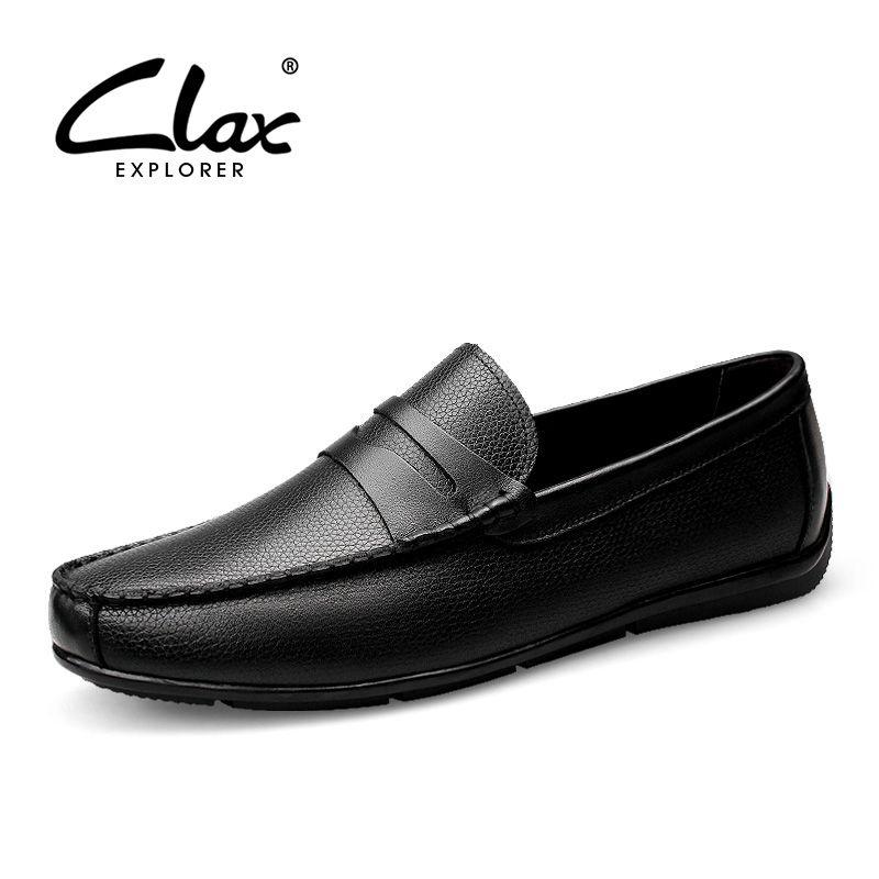 Clax Мужская обувь Элитный бренд Лоферы для женщин Пояса из натуральной кожи мужская обувь для вождения слипоны Платье черного цвета обуви мо...
