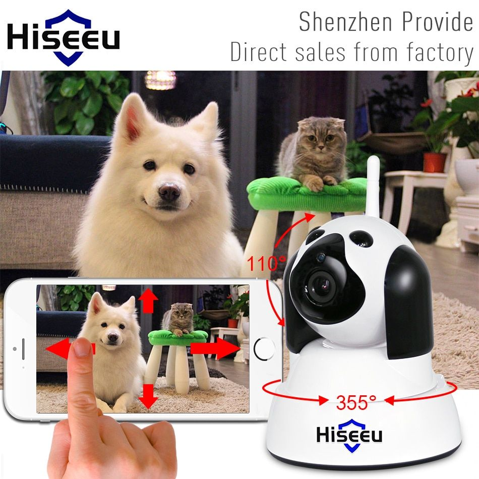 Hiseeu дома безопасности IP Камера Wi-Fi Беспроводной Smart собак Wi-Fi Камера наблюдения 720 P Ночное видение CCTV Крытый Видеоняни и радионяни FH4