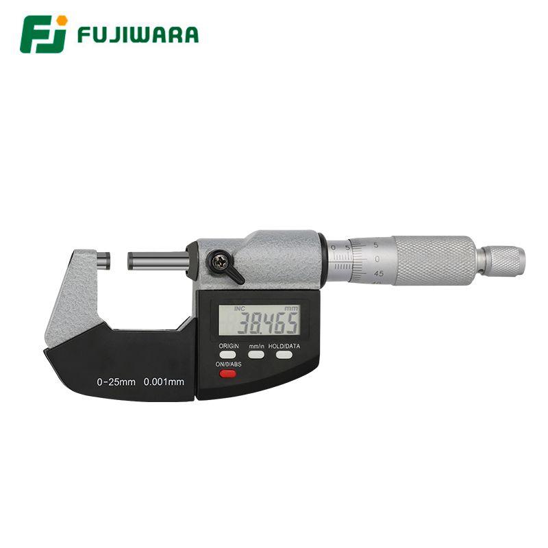 FUJIWARA Industrial Digital Micrometer 0-25mm Screw Micrometer External Micrometer Measuring Caliper