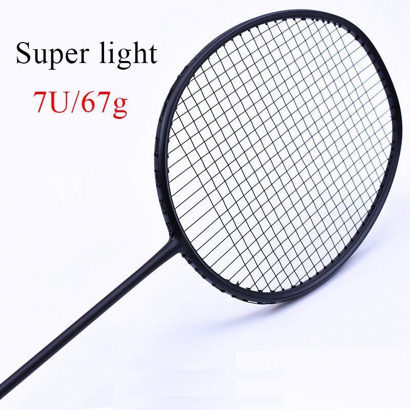 LOKI Super licht 7U 67g Aufgereiht Badminton Schläger Schwarz Professionelle Carbon Badminton Schläger 28LBS freies Griffe und Armband