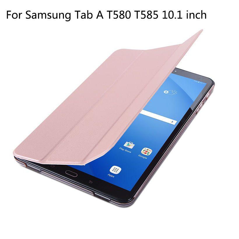 Étui pour samsung Galaxy Tab A a6 10.1 2016 T585 T580 SM-T580 T580N étui intelligent en cuir PU tablette Funda + Film + stylo