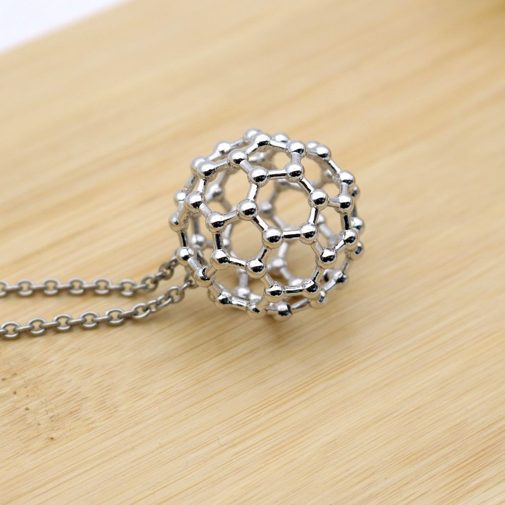 Buckminsterfullerene Molecule Ball Necklace Formula C60 Special Novelty Male Female Pendant Necklace