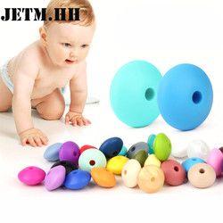 100 pcs Silicone de Dentition Perles Lentilles Abacus 12*7mm Sans Bpa Dents Diy Dentition Collier Perle Bijoux Bébé jouets Bébé Soins JETM POMPES de la. HH