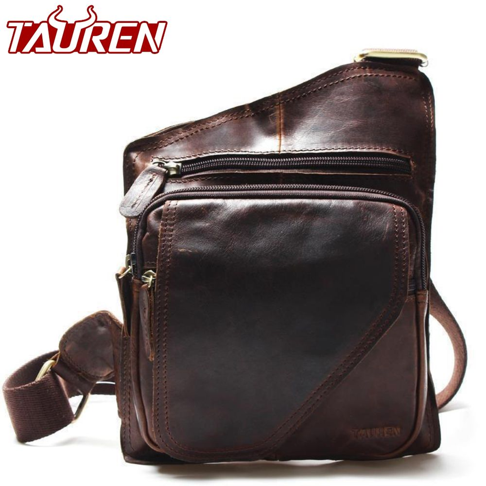 New High Quality Vintage <font><b>Casual</b></font> Crazy Horse Leather Genuine Cowhide Men Chest Bag Small Messenger Bags For Man Shoulder Bags