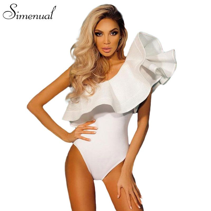 One shoulder ruffles fitness bodysuit women clothing 2017 fashion sexy hot slim bodycon jumpsuits solid ladies bodysuits rompers