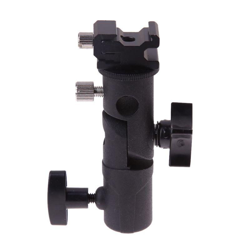 E Type Universal Metal Flash Hot Shoe Speedlite Umbrella Holder Light Stand Bracket with 1/4 to 3/8 Screw Mount Swivel Adapter