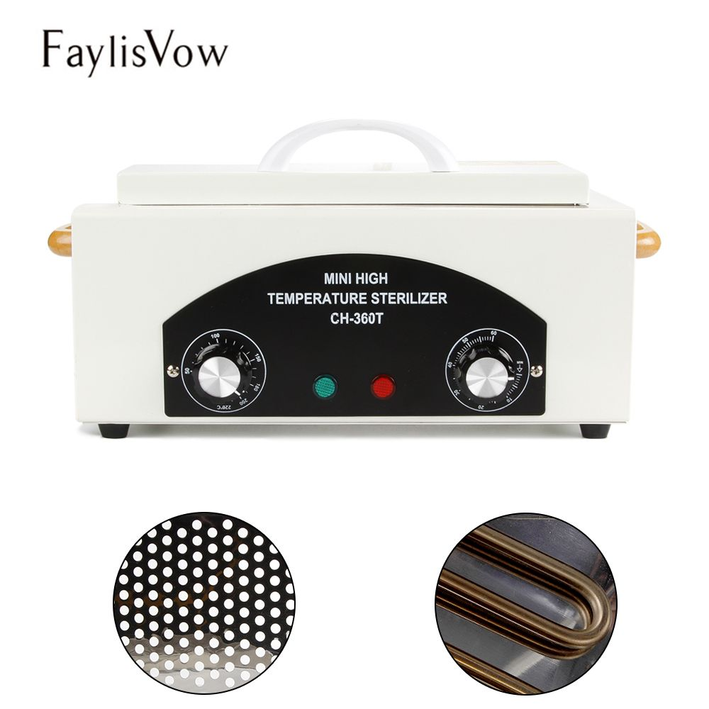 Quality High 220 Temperature Sterilizer Salon Nail Art Tools Sterilizer Box Pendicure Manicure Tool Dry Heater Home Use CH-360T