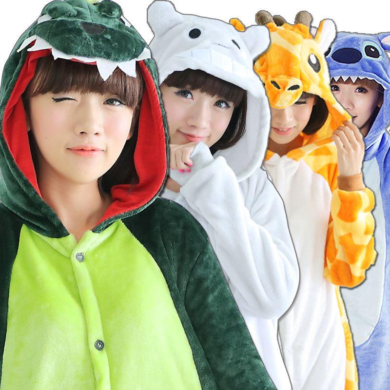 Cartoon Animal <font><b>China</b></font> panda Pajamas Cosplay For Women men Adult Unisex Pajamas Long sleeve Flannel Winter Autumn Sleepwear