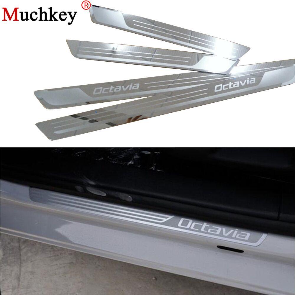 Pour Skoda Octavia A5 A7 2007 à 2012 2013 2014 seuil de porte de voiture plaque de seuil bienvenue pédale accessoires Auto acier inoxydable 4 pièces