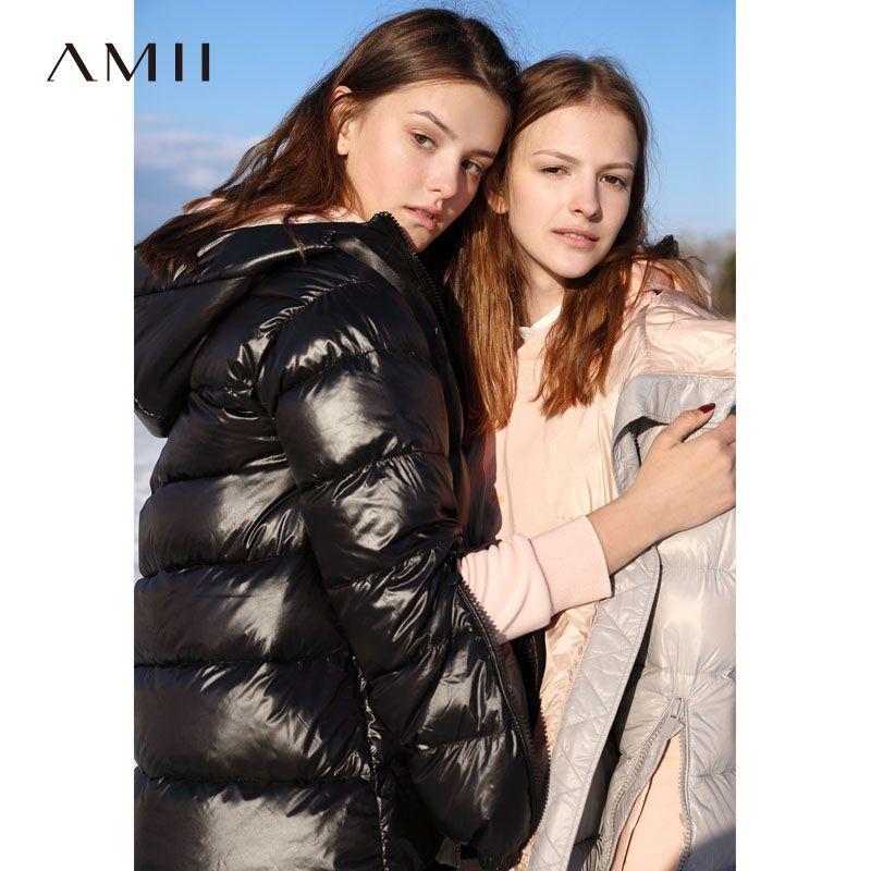 'Amii minimalistischen port wind chic mit kapuze unten jacke 2018 winter new cuffs zipper 90 samt unten mantel