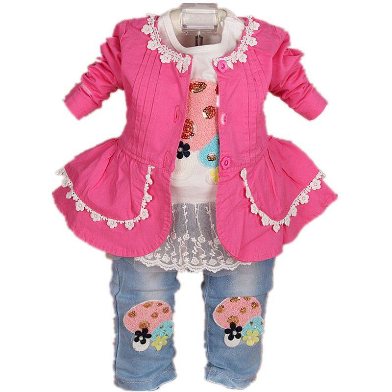 2017 nouveau bébé fille vêtements ensemble 3 pièces filles vêtements ensemble filles t shirt enfants pantalon costume ensemble
