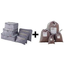 Nouveau Nylon Emballage Cube Voyage Sacs Zipper Étanche 6 Pièces un Ensemble de Grande Capacité De Sacs Unisexe Vêtements De Tri Organiser sac
