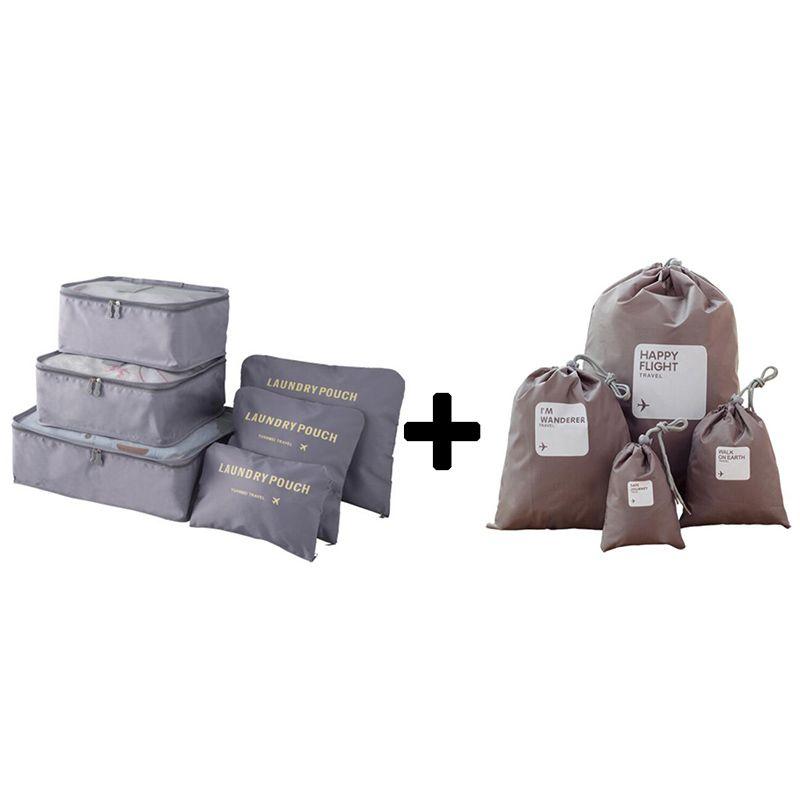 Nylon emballage Cube voyage sacs Zipper étanche 6 pièces un ensemble grande capacité de sacs unisexe vêtements tri sacs de rangement