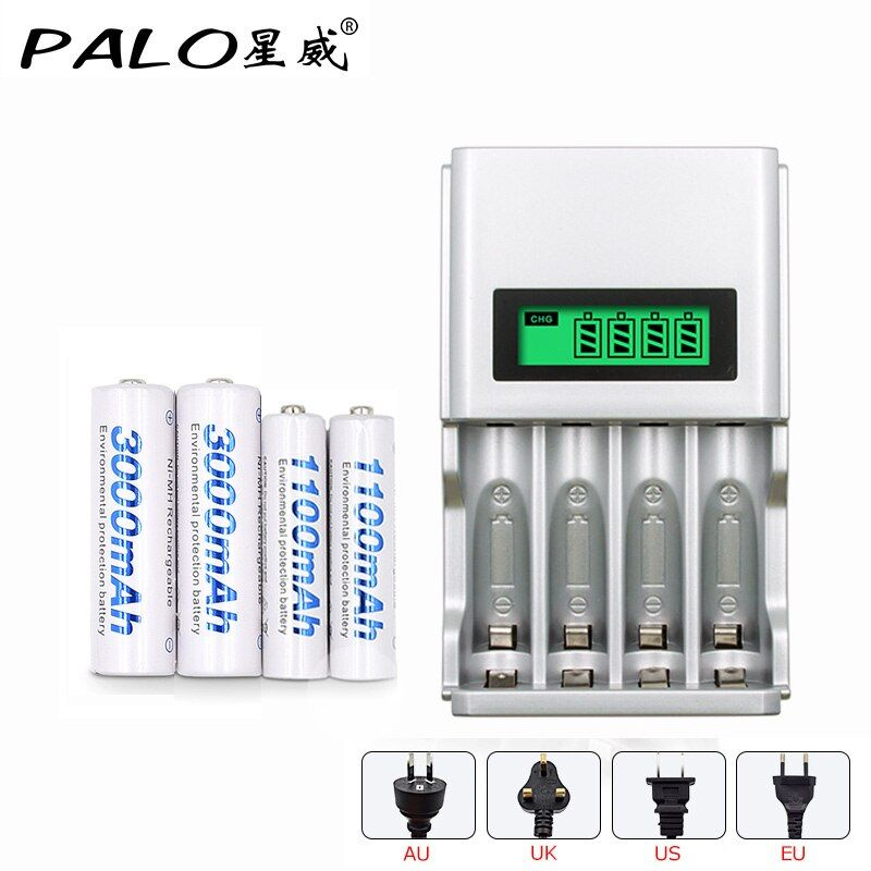 4 slots AA AAA <font><b>NIMH</b></font> nicd quick charge battery intelligent charger with LCD display+2 pcs AA batteries+2 pcs AAA batteries