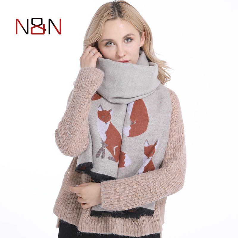 Winter Women Cashmere Scarf Designer Fox Printed Thicken Warm Cape Long Shawl Brand Shawls and Scarves Warm Pashmina Echarpes