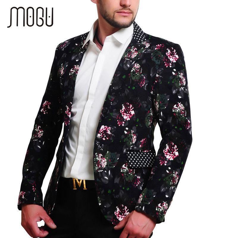 MOGU 2017 Mens Floral Blazer 100% Cotton Flower Print Blazers For Men Large Size Slim Fit Blazer Men Costume Homme Men Blazer