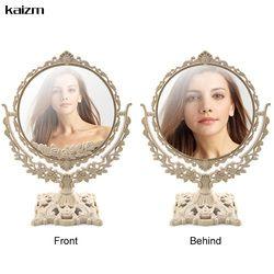 Kaizm Femmes Maquillage Miroir Vintage Floral Ovale Ronde Poignée Miroir Princesse Élégant Maquillage Beauté Outils espelho de maquiage