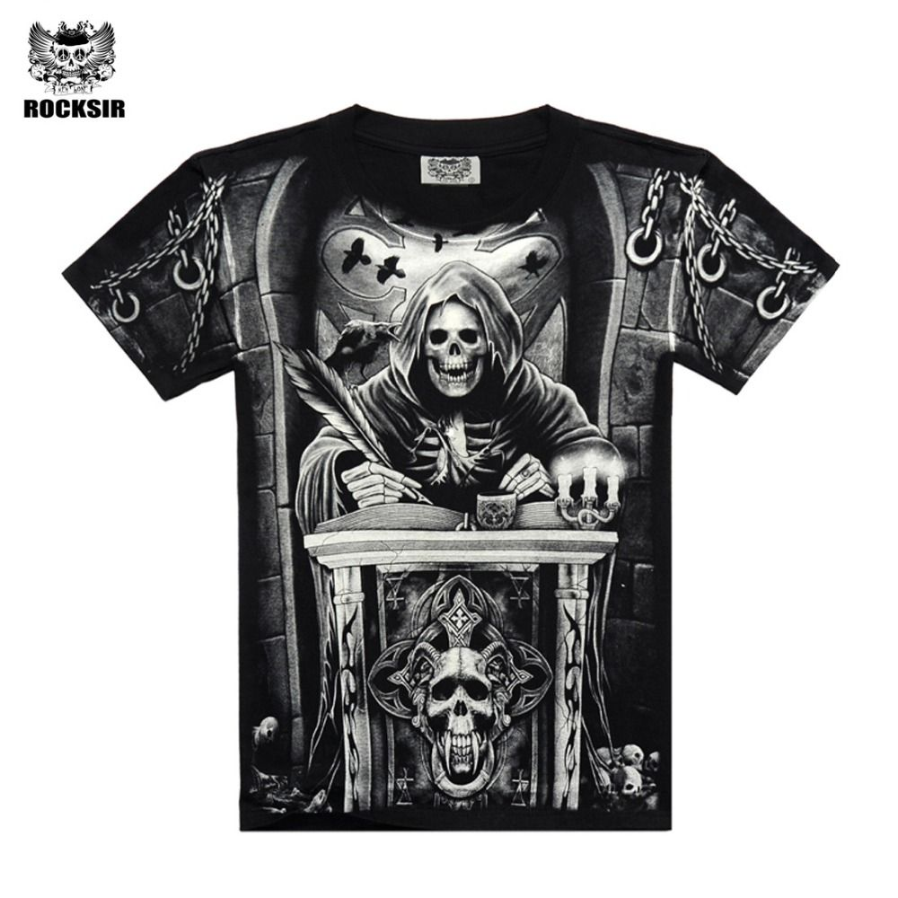 Rocksir 3d crâne t chemises Hommes 2017 VENTE CHAUDE Marque De Mode Mens Casual 3D Imprimé T shirt Coton Hommes Vêtements t-shirt plus taille