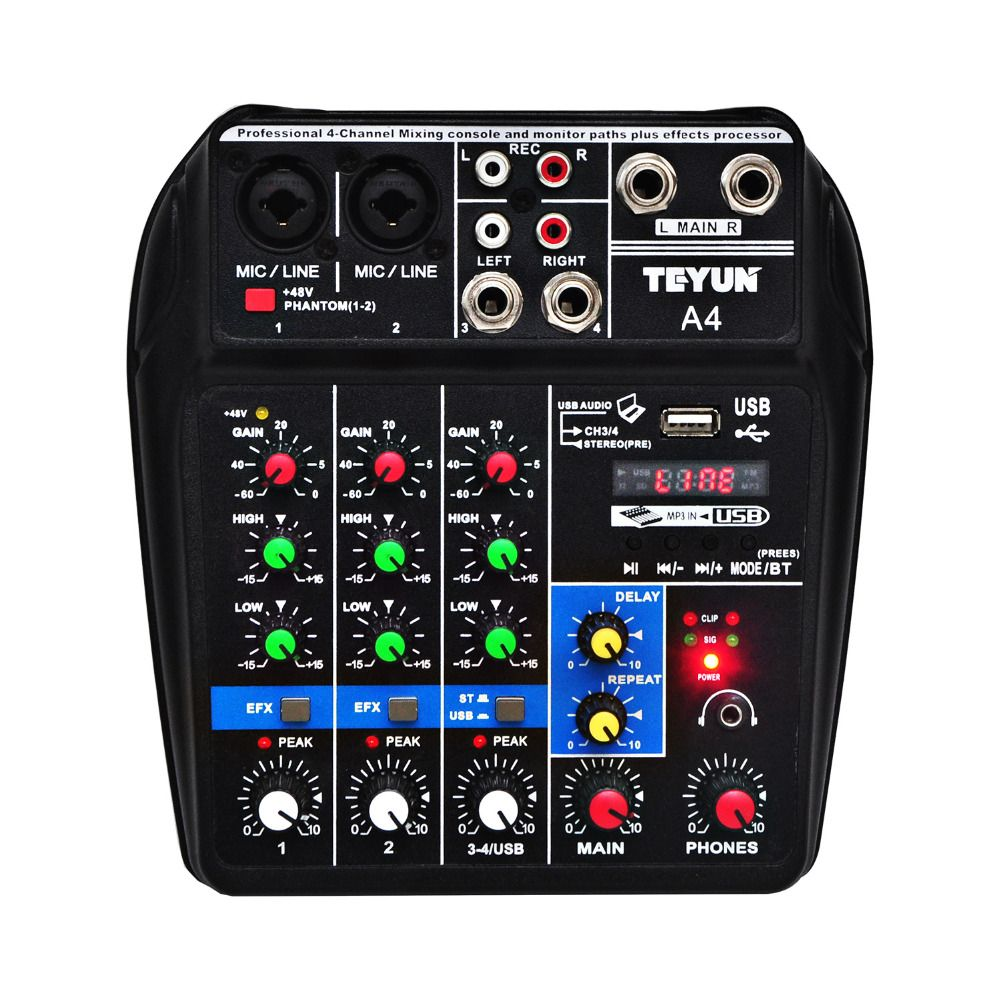 A4 Sound Mixing Console with Bluetooth Record 48V Phantom Power Monitor Paths Plus Effects 4 Channels Audio Mixer with USB