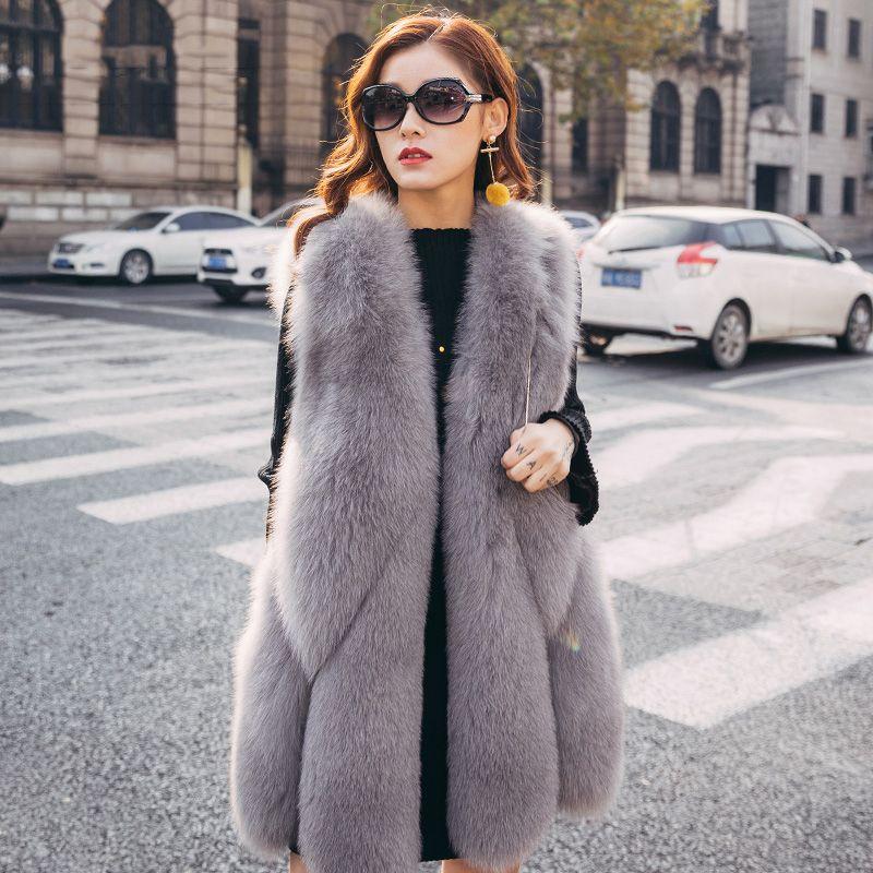 Women's Real Fur Vest Furry Natural Fur Waistcoat Genuine Fox Fur Vest rf0092