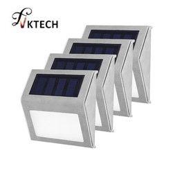 1-4 piezas luz Solar del acero inoxidable 3 LED lámpara de energía Solar ahorro de energía al aire libre patio jardín camino pared luz impermeable