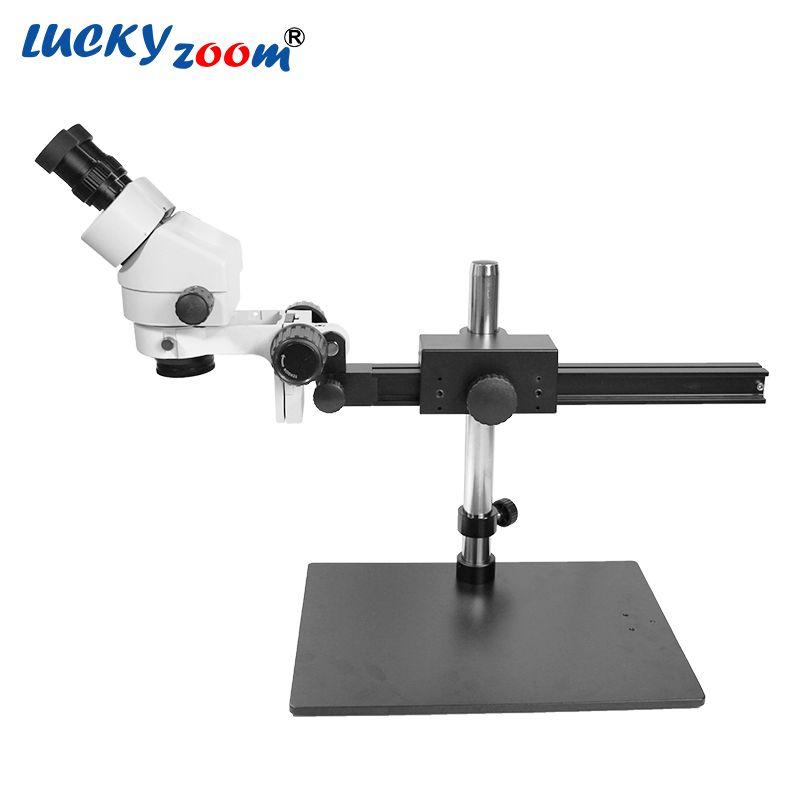 Luckyzoom Marke Professionelle 7X-45X EINZIGEN BOOM Guide STEHEN 25 cm Arbeitsabstand Binokular Stereo Zoom-mikroskop Niedrigsten Preis