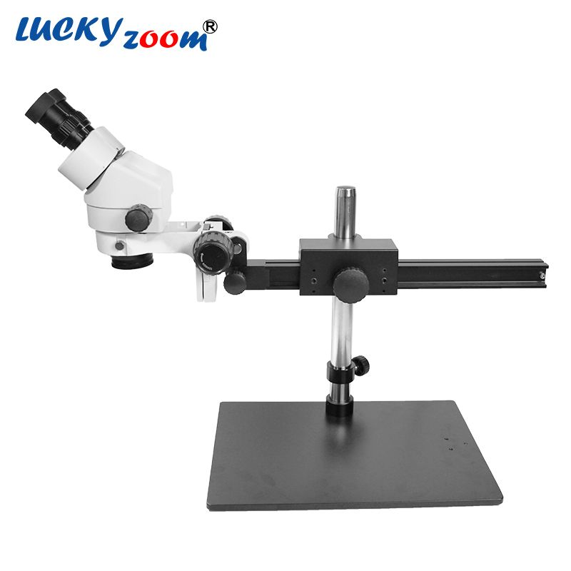 Luckyzoom Brand Professional 7X-45X SINGLE BOOM Guide STAND 25cm Working Distance Binocular Stereo Zoom Microscope Lowest Price