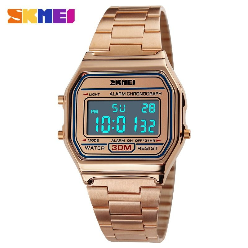 SKMEI Luxury Steel Quartz Watch Women Clock Gold Ladies Casual Wrist watch <font><b>Relogio</b></font> Feminino Waterproof Digital Dress Watches