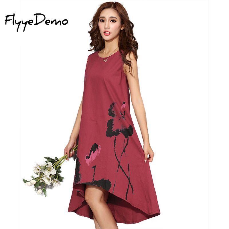 M-6XL été robe 2019 nouveau Vestido robes décontractées femmes chinois lin Vintage robe dames Sundress grande taille femmes vêtements