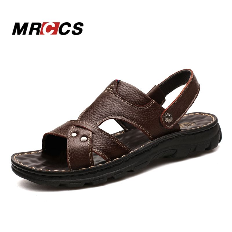 MRCCS Multifunctional Genuine Leather Men's Sandals Beach Slipper,Summer Soft Breathable Massage Thick Sole Casual Shoes 2018