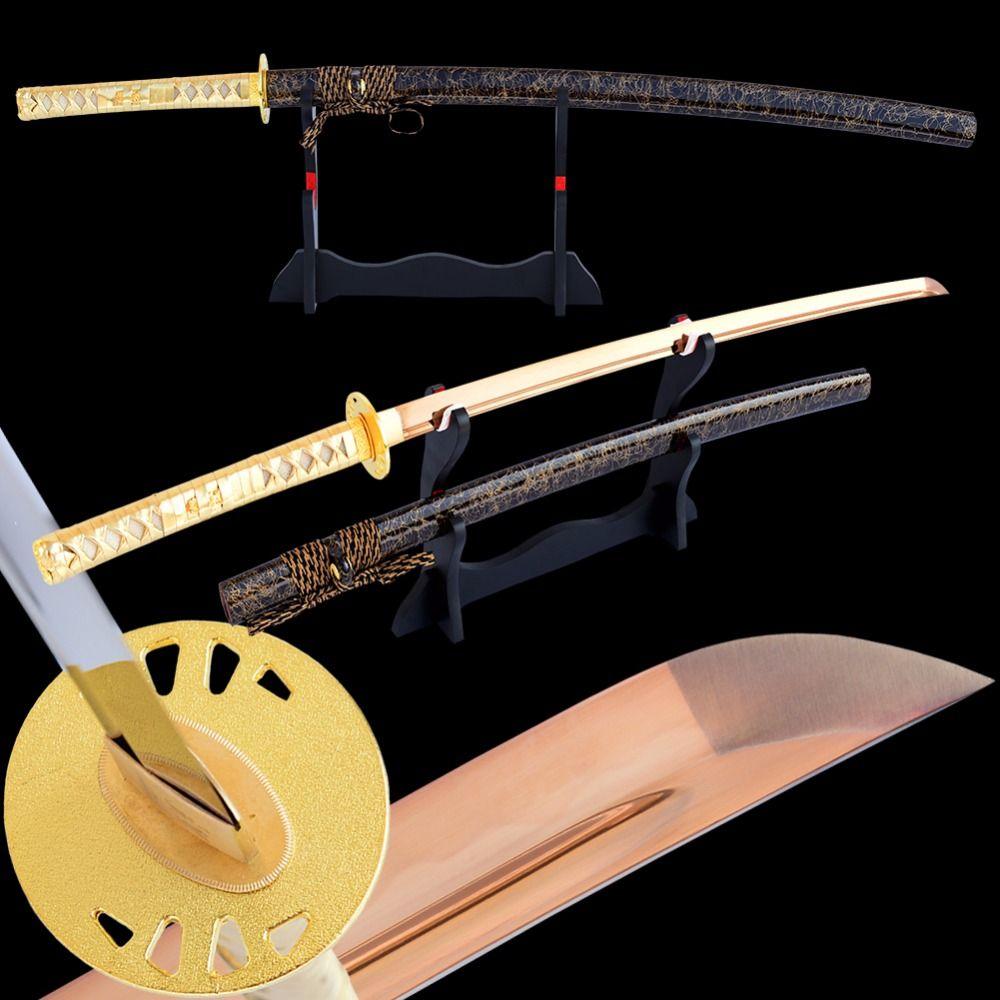 Shijian Swords Sharp Janpanese Samurai Katana Hand Forged High Carbon Steel Clay Tempered Electroplated Golden Blade Sword