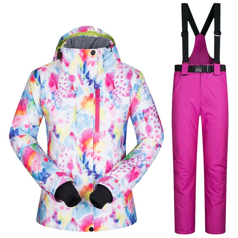 2017 New Women Snow Ski Suit Windproof Waterproof Breathable Women's Snowboard Colorful Clothes Winter Jacket And Pants Hiking