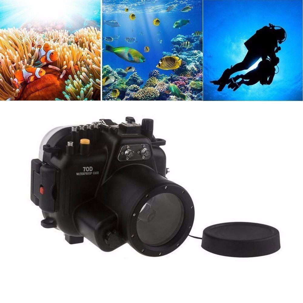 Meikon 40 mt Wasserdichte Unterwasser Kamera Gehäuse Fall für Canon EOS 70D 18-55mm Objektiv