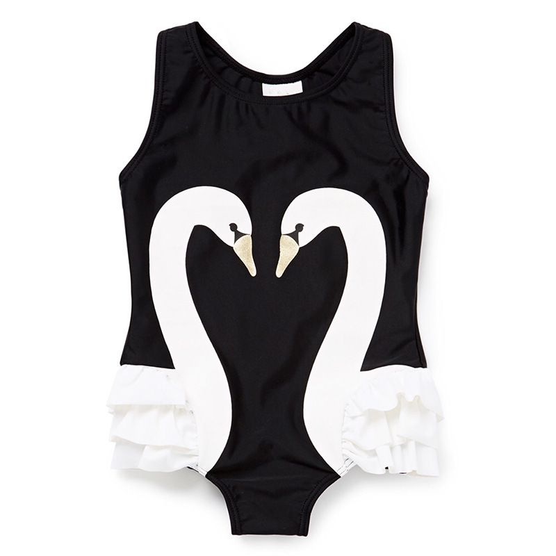 Summer 2017 Child Double swan conjoined baby girls Swimwear pink flamingo Swimsuit one piece swimming pool beach bathing suit