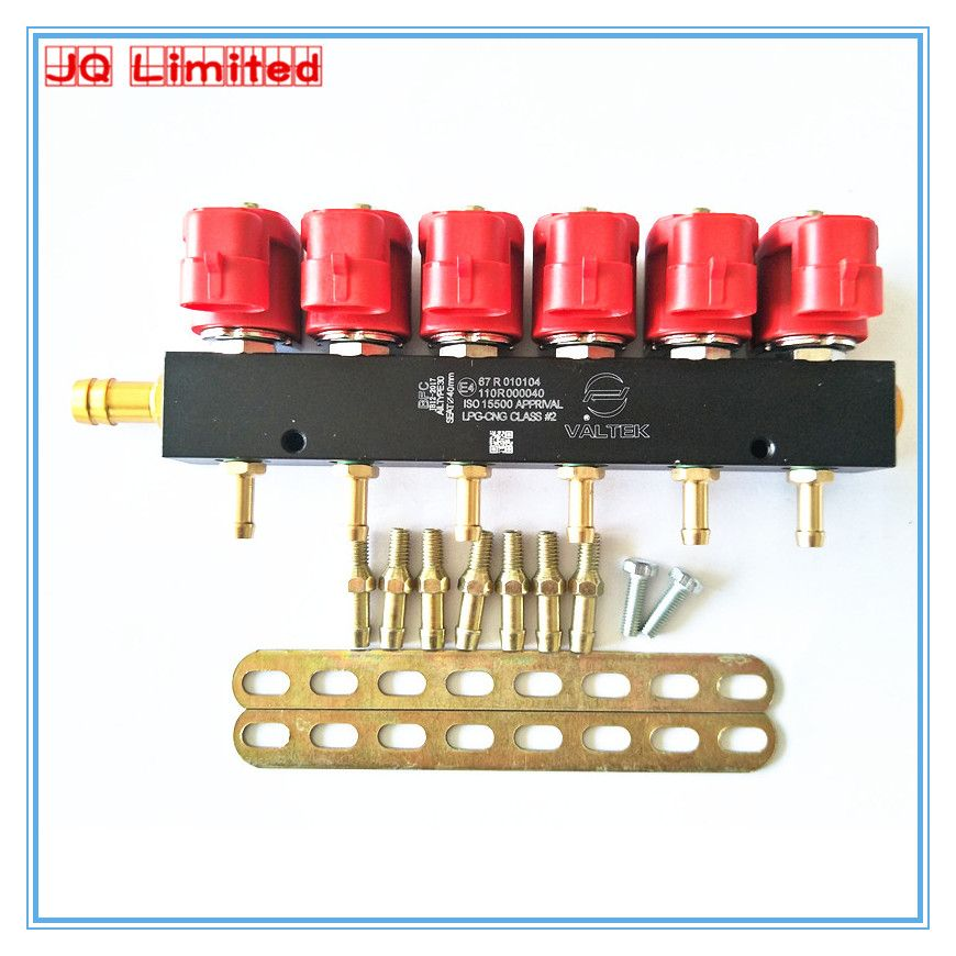 High speed  silent CNG LPG gas Injector Rail for 6 cylinder Sequential Injection System Common Rail  Injector with accessories