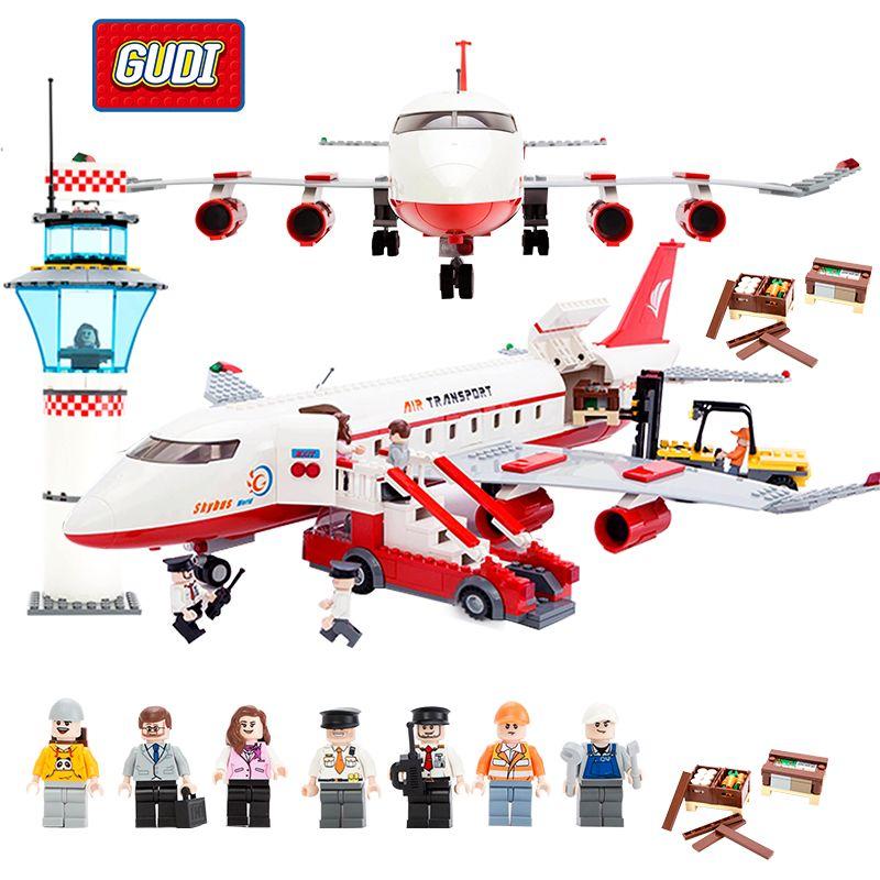 GUDI bloc ville grand avion de passagers avion bloc assemblage Compatible avec les blocs de construction jouets éducatifs pour les enfants