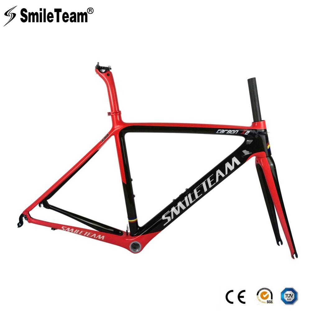 SmileTeam 2018 Neue Carbon Faser Rennrad Rahmen Di2 & Mechanische Racing Fahrrad Carbon Rennrad Rahmenset Mit Gabel Sattelstütze Headset