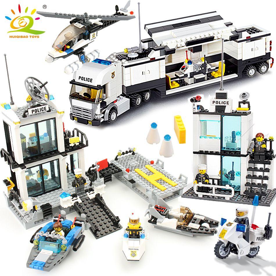 536 pièces blocs de construction Police Station Prison Chiffres Compatible Legoing Ville Éclairer Briques Jouets Pour Enfants Camion Hélicoptère