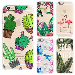 Ekone phone case para iphone 6 6s 6 plus case flor plantas hojas de cactus flamingo piña de silicona para iphone 6 plus case