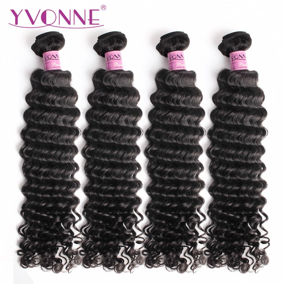 YVONNE Virgin Brazilian Hair Deep Wave Bundles 4 Bundles Human Hair Weave 12-28 Inches Natural Color