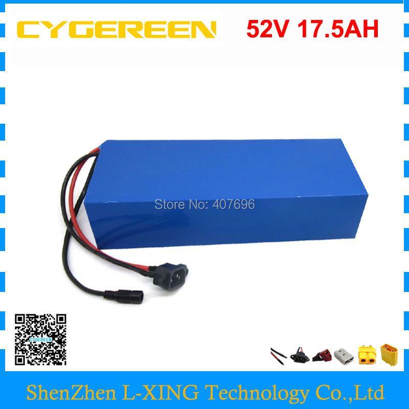 Freies verschiffen 1000 W 52 V Lithium-batterie 51,8 V 17.5AH batterie pack 52 V 17.5AH 18AH ebike batterie verwenden samsung 3500 mah zelle 30A BMS