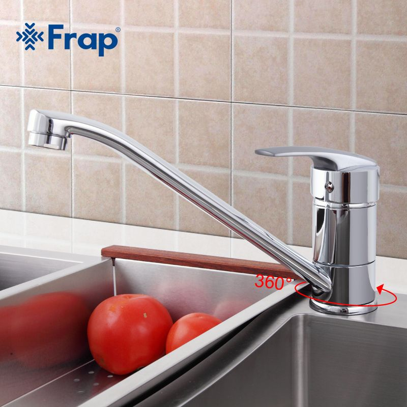 Frap Classic Style Kitchen Faucet Solid Brass Single Handle Cold and Hot Water Tap 360 Degree Rotation F4906