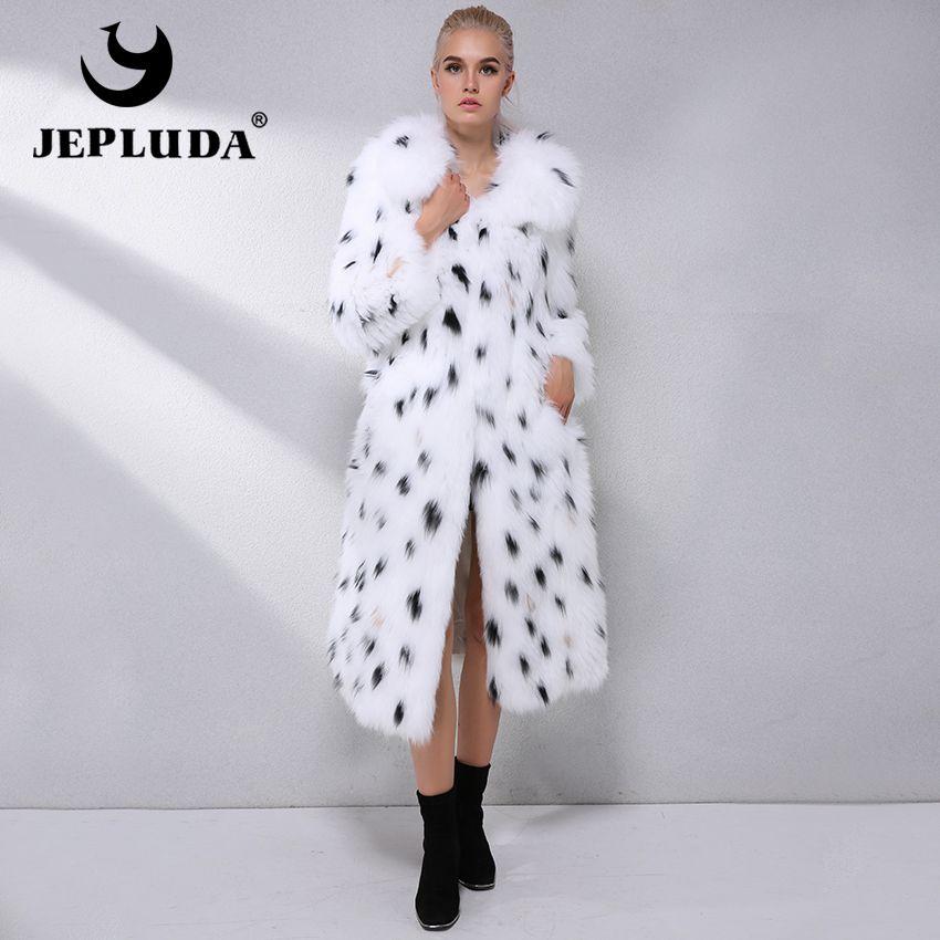 JEPLUDA Neueste Mode Warme Weiche Natürliche Fuchs Pelz Mantel lange Leopard Print Echt Pelzmantel Frauen Winter Mantel Echtpelz jacke Frauen