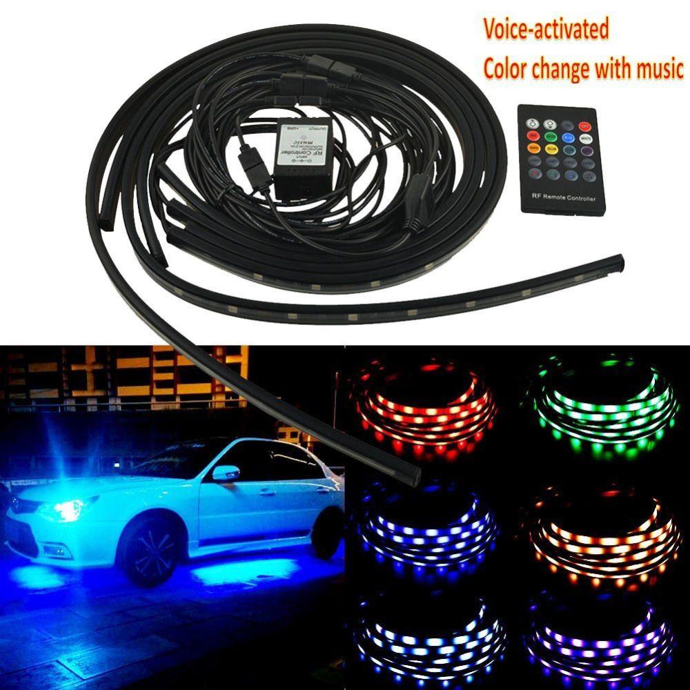 4Pcs 12V Car RGB LED DRL Strip Light Car Auto Remote Control Decorative Flexible LED Strip Atmosphere Lamp Kit Fog Lamp 3 Size